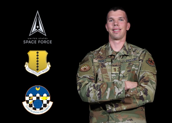 U.S. Space Force 2nd Lt. Samuel Pisney, 315th Training Squadron student, stands in the 17th Training Wing Public Affairs video studio on Goodfellow Air Force Base, Texas, Aug. 13, 2020. Pisney was a part of the first Air Force Academy class to directly commission into the USSF on April 18, became the 63rd USSF member and will learn the global intelligence, surveillance and reconnaissance missions through hands-on technical training from the 315th TRS. (U.S. Air Force illustration by Airman 1st Class Ethan Sherwood Airman 1st Class Michael Bowan)