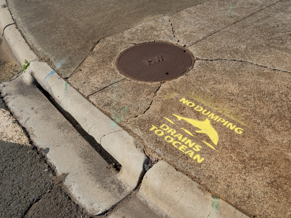 Stencils near storm water drains at MCBH
