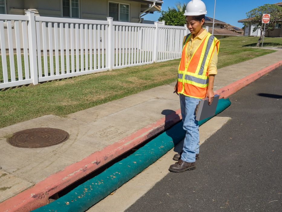Protection berms placed at storm drain openings