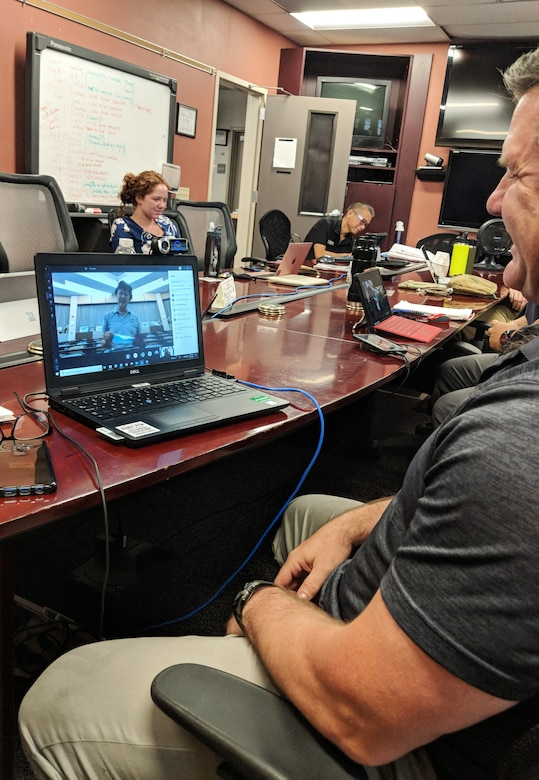 Washington National Guard Maj. Jeff McDonald conducts a virtual exchange with personnel from the port of Laem Chabang, Thailand, Aug. 17, 2020, at the Joint Operations Center, Camp Murray, Wash. The Washington National Guard and Thailand are partners under the National Guard's State Partnership Program.