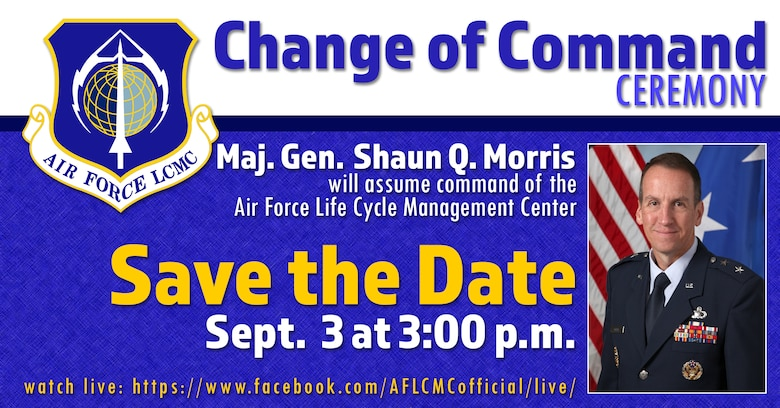 The AFLCMC change of command ceremony will take place Sept. 3, 2020, at 3:00 p.m. EDT
