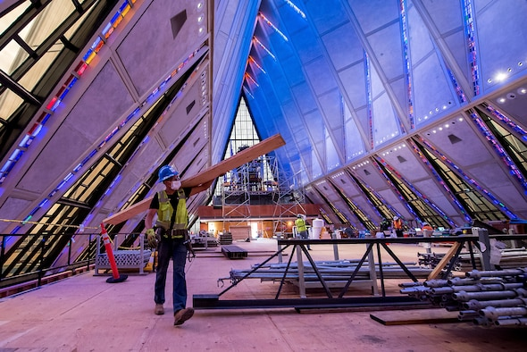 Crews erect scaffolding around the interior of the U.S. Air Force Academy Cadet Chapel on May 11, 2020 in Colorado Springs, Colorado.