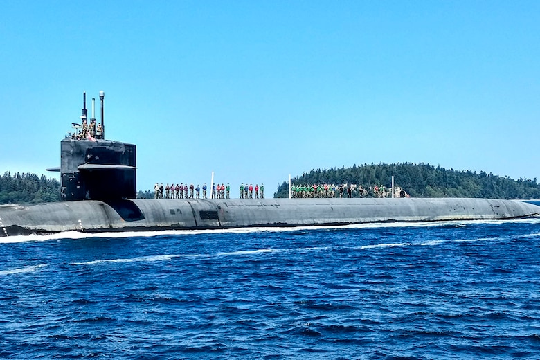 USS Henry M. Jackson (SSBN 730) returns home after completing the submarine's 100th strategic deterrent patrol, Aug. 5.
