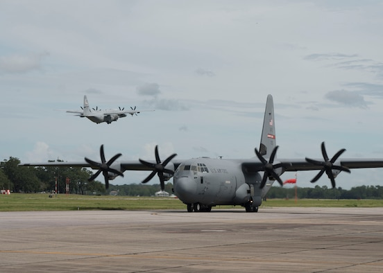 The Air Force Reserve's 403rd Wing, Keesler Air Force Base, Mississippi, relocated its aircraft today as Hurricane Marco and Tropical Storm Laura make their way to the U.S. Gulf Coast. The 815th Airlift Squadron relocated their aircraft to Joint Base San Antonio, Texas, and the 53rd Weather Reconnaissance Squadron will continue flying missions into both storms from Atlantic Aviation Charleston International Airport, South Carolina. (U.S. Air Force photo/Lt. Col. Marnee A.C. Losurdo)