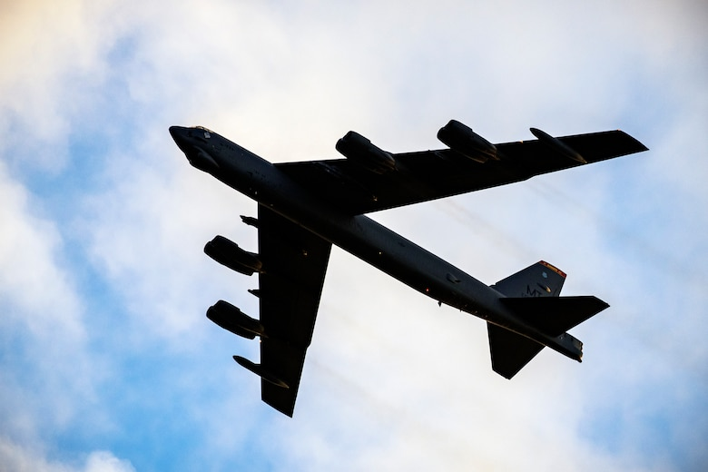 A B-52 Stratofortress flies overhead at RAF Fairford, England, Aug. 22, 2020. U.S. Strategic Command regularly tests and evaluates the readiness of strategic assets to ensure we are able to honor our security commitments. (U.S. Air Force photo by Senior Airman Eugene Oliver)