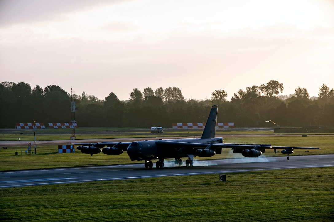 A B-52 Stratofortress lands at RAF Fairford, England, Aug. 22, 2020. Our ability to quickly respond and assure allies and partners rests upon the fact that we are here, in Europe, forward and ready. (U.S. Air Force photo by Senior Airman Eugene Oliver)