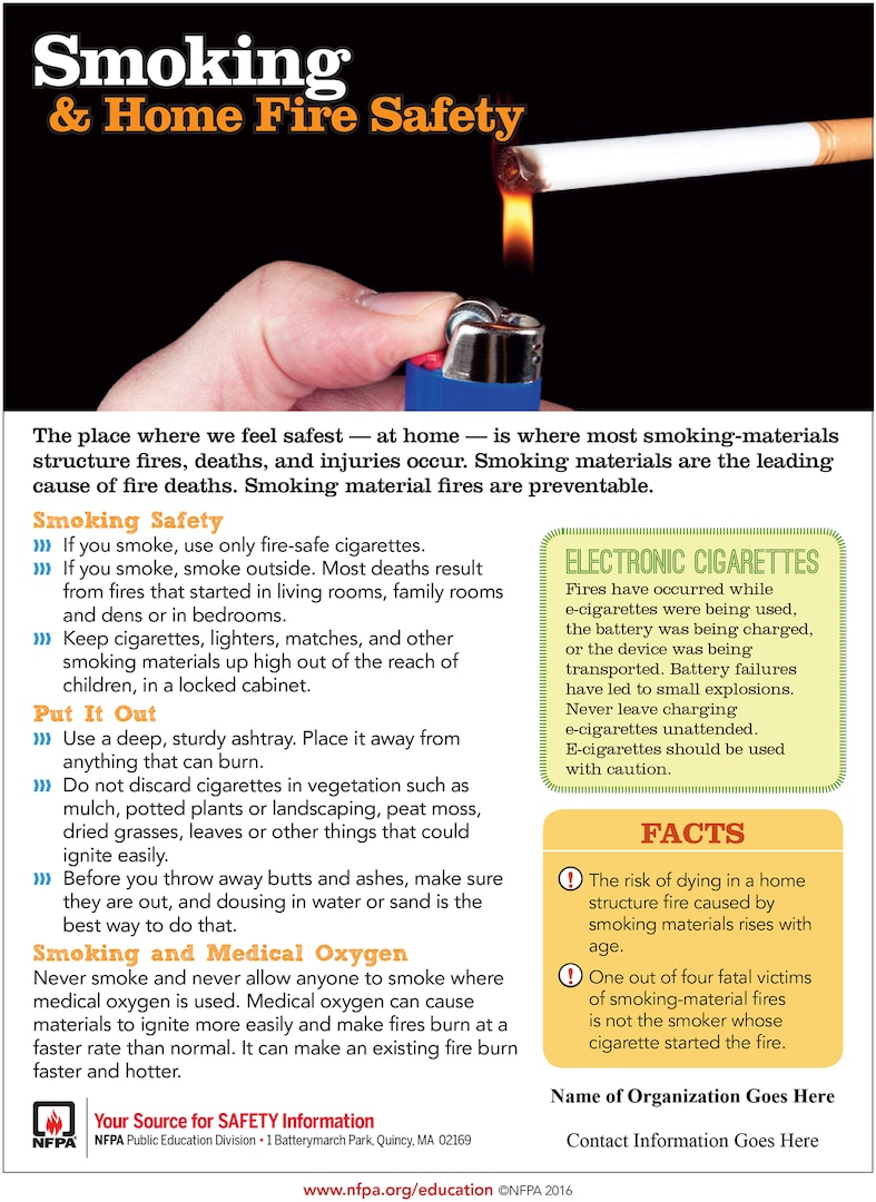 In the United States, smoking materials are the leading cause of fire deaths, as reported by the U.S. Fire Administration. Some significant deterrents in combating these unnecessary deaths are smoke alarms, smoldering resistant bedding and upholstered furniture. Smoking material fires are preventable.