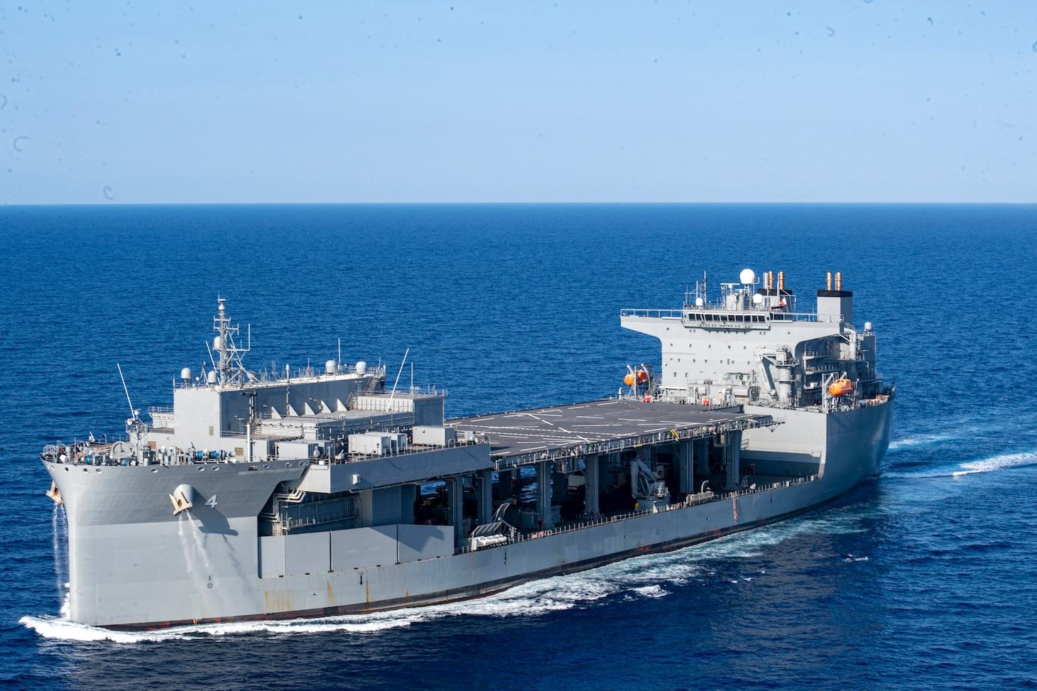 "USS Hershel ""Woody"" Williams (ESB 4) transits the Mediterranean Sea."
