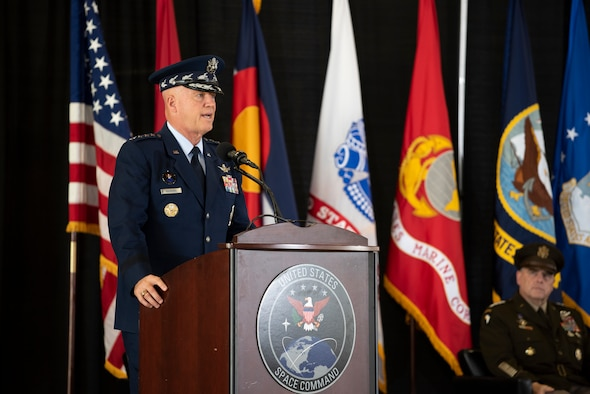 """Gen. John """"Jay"""" Raymond. Chief of Space Operations, U.S. Space Force, Commander, U.S. Space Command, provides remarks at the USSPACECOM Change of Command. Gen. Raymond relinquished command of USSPACECOM to GEN James Dickinson."""