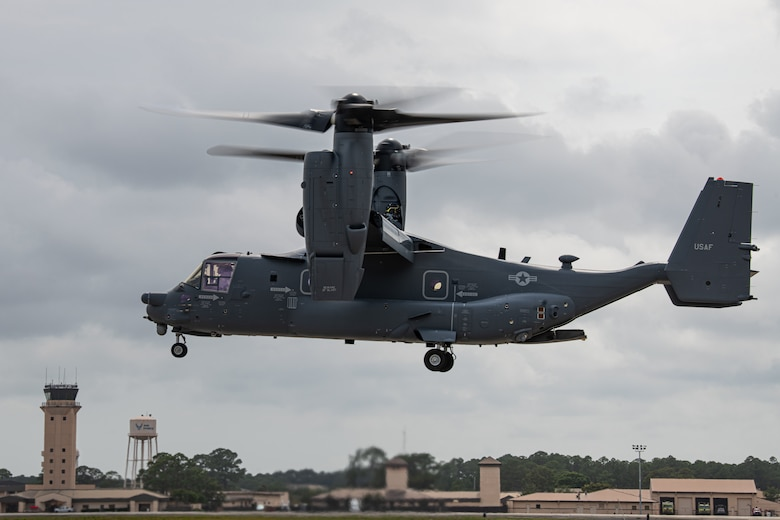 Air Commandos with the 801st Special Operations Aircraft Maintenance Squadron accept delivery of a new CV-22B Osprey tiltrotor aircraft at Hurlburt Field, Fla., Jun. 2, 2020. The 801st SOAMXS helps keep Ospreys ready to execute infiltration, exfiltration and resupply missions worldwide. (U.S. Air Force photo by Airman 1st Class Nathan LeVang)