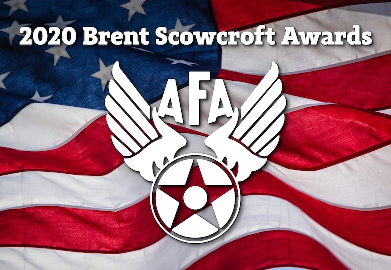 AFA symbol and 2020 Brent Scowcroft Awards over the top of the American flag.