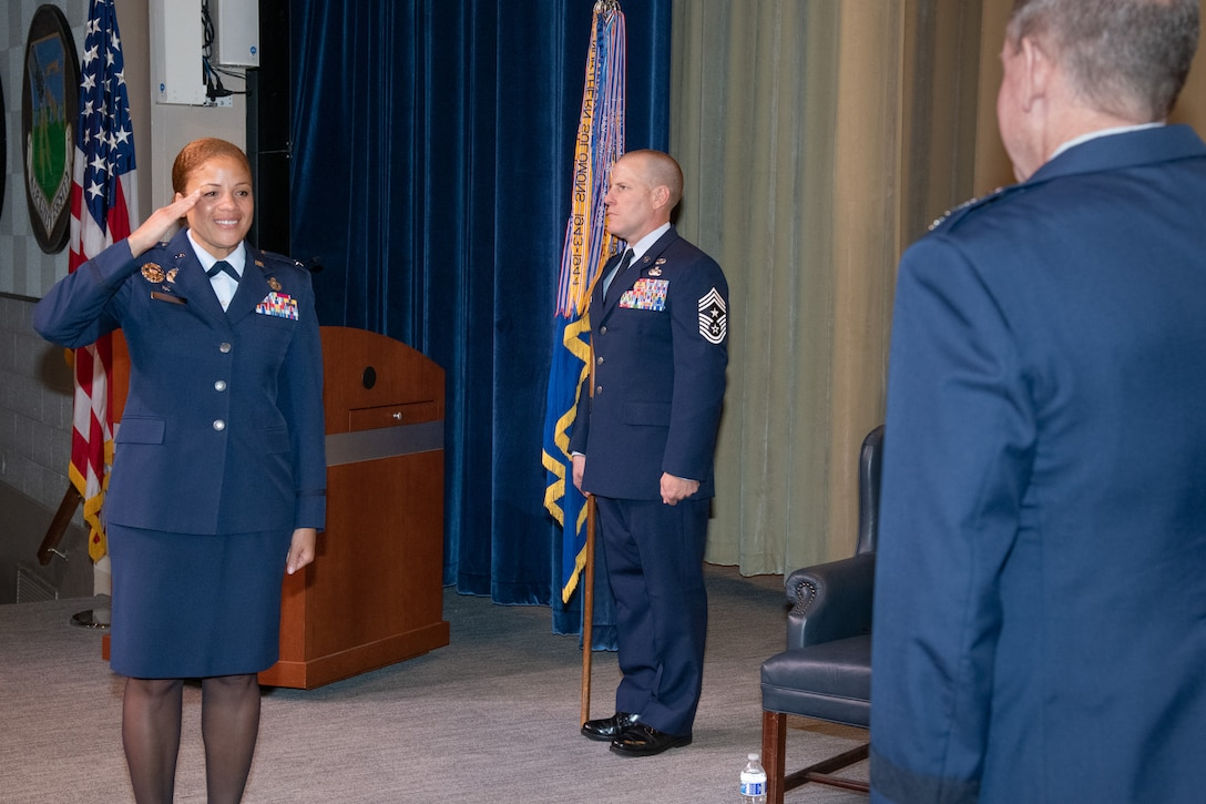 Colonel Patrick J. Carley relinquishes command of the 42nd Air Base Wing to Col. Eries L. G. Mentzer, Aug. 24, 2020, at Maxwell Air Force Base, Alabama. The ceremony was presided over by Lt. Gen. James Hecker, Air University commander and president. (U.S. Air Force photo by Trey Ward)