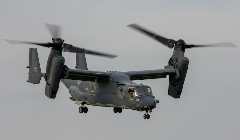 A CV-22 Osprey assigned to the 21st Special Operations Squadron flies over Yokota Air Base, Japan, June 15, 2020, during exercise Gryphon Jet. Gryphon Jet is an integrated training exercise focused on improving interoperability throughout the special operations community. (U.S. Air Force photo by Yasuo Osakabe)