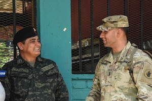 Army South Soldier with Hondurean Officer