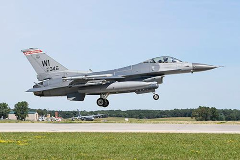 An F-16 Fighting Falcon from the Wisconsin National Guard's 115th Fighter Wing lands at Volk Field, Wisconsin, during the two-week Northern Lightning training exercise, which ended Aug. 21, 2020.