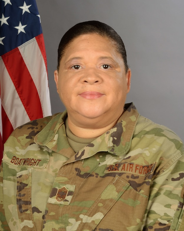 Portrait of  U.S. Air Force Chief Master Sgt. Audrey Boatwright, assigned to the 169th Logistics Readiness Squadron at McEntire Joint National Guard Base, S.C., Aug. 21, 2020. (U.S. Air National Guard photo by Senior Master Sgt. Edward Snyder, 169th Fighter Wing Public Affairs)