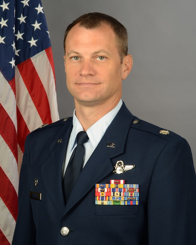 Portrait of Lt. Col. Daniel Bowes, commander of the 157th Fighter Squadron at McEntire Joint National Guard Base, S.C., Aug. 19, 2020. (U.S. Air National Guard photo by Senior Master Sgt. Edward Snyder, 169th Fighter Wing Public Affairs)