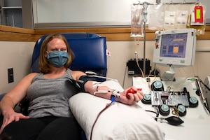 Megan Keller, a recovered COVID-19 patient, donates COVID-19 convalescent plasma Aug. 20, 2020, at the Armed Services Blood Bank Center, Joint Base San Antonio-Lackland, Texas. Patients that have recovered from COVID-19 have a higher chance of carrying a concentrated amount of antibodies in their plasma to help other patients that do not. (U.S. Air Force photo by Airman 1st Class Melody B. Bordeaux)
