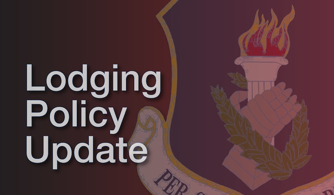 As of June 22, 2020, lodging for 108th Wing Airmen will be based on mileage away from the base to the place of residence. Personnel who live at least 50 miles but less than 75 miles from the base are eligible for one night of lodging between the first and second day of inactive duty. Personnel who live over 75 miles are eligible for two nights. The distance is calculated from the member's Home of Record (HOR) based on the Defense Table of Official Distances.
