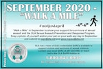 A poster announcing the Walk A Mile event in September.