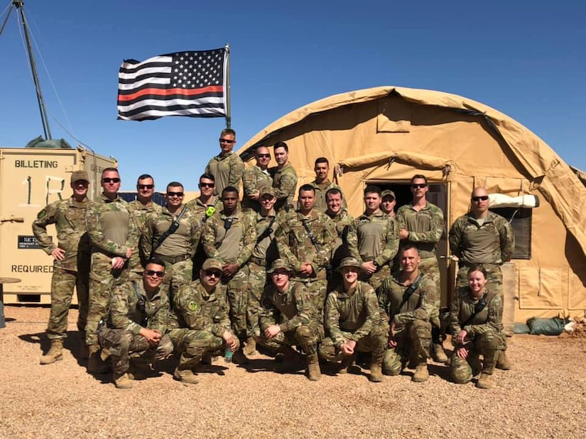 Alaska Air National Guard Fire Protection Specialists assigned to the 176th Civil Engineer Squadron in Niger, Africa during their 2020 deployment. (Alaska National Guard Courtesy Photo)