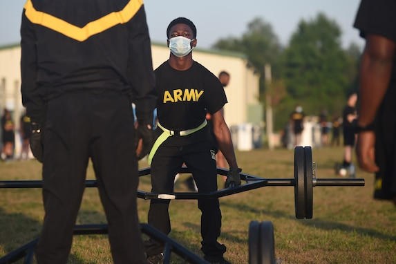 An Army Reserve Soldier attempts the 3 Repetition Maximum Deadlift, one of six test events for the Army Combat Fitness Test, during Operation Ready Warrior exercise, at Fort McCoy, Wisconsin, August 23, 2020.
