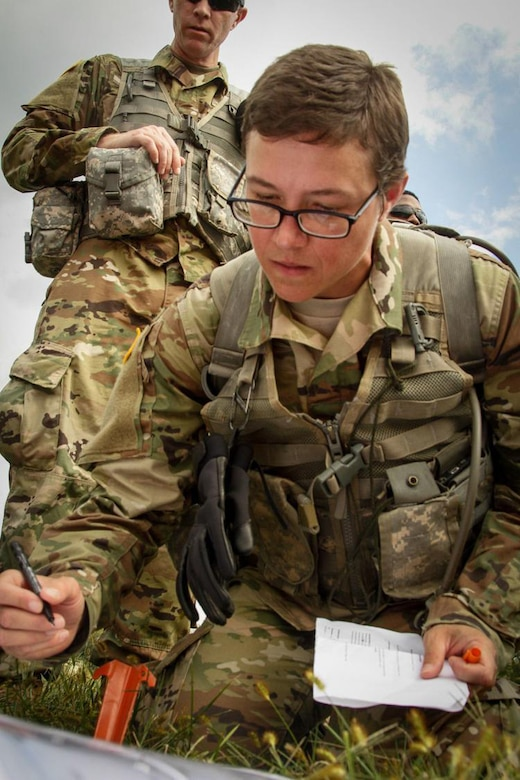 Capt. Emily Lilly conducts a verbally initiated release system (VIRS) exam at Camp Dawson, West Virginia, in 2017. Students successfully guide helicopters into a drop zone and signal for release using hand signals, radio communications and visual guides.