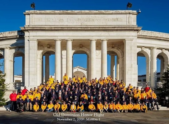 Veterans and Volunteers of Old Dominion Honor Flight pose for a group photo at Arlington National Cemetery, Nov. 2, 2019. (Photo courtesy of April Maletz.)