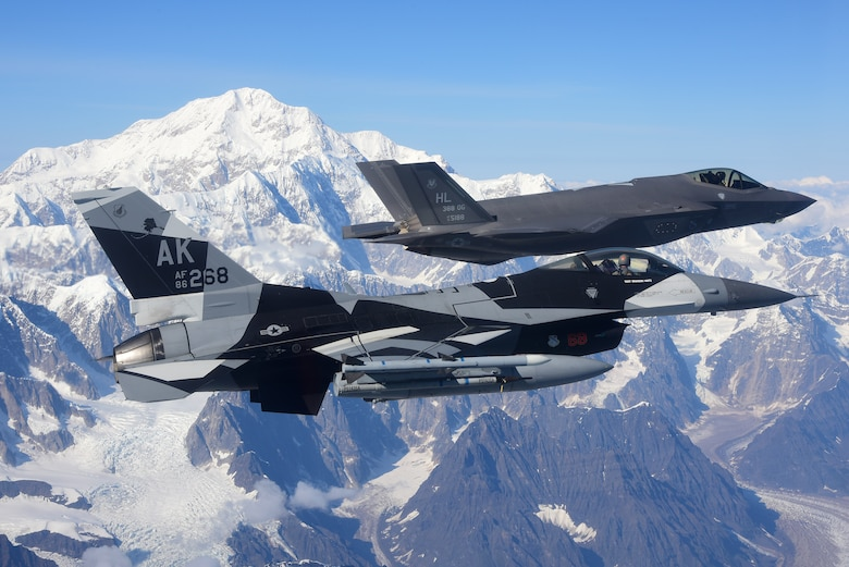 A picture of F-35s flying