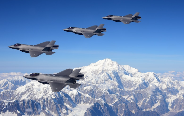 A picture of F-35s flying.