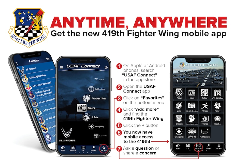 Graphic of the new 419th Fighter Wing app via the Air Force Connect platform