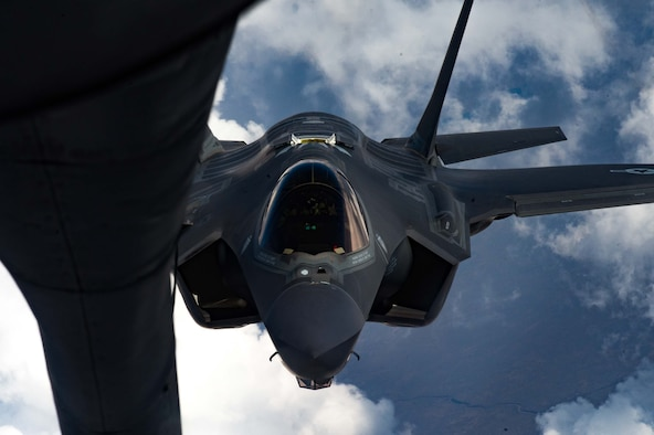 An F-35A Lightning II pilot with the 56th Operations Group prepares to refuel over southern Idaho on August 18, 2020.