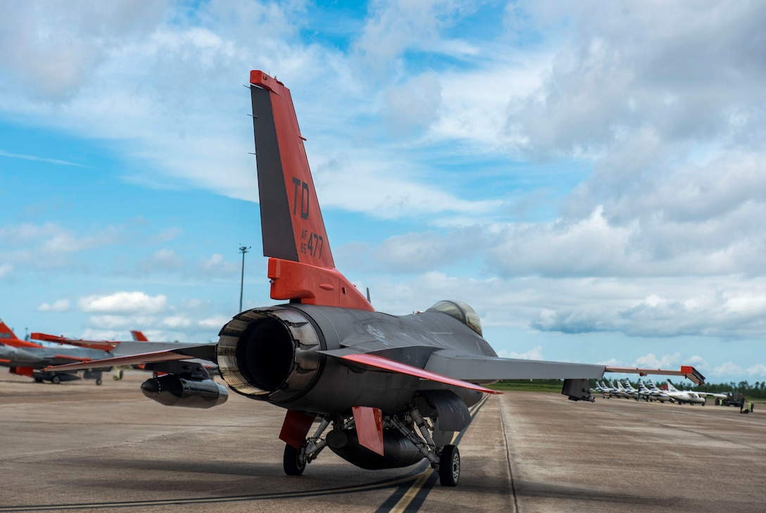 A QF-16 assigned to the 82nd Aerial Targets Squadron aircraft taxies the runway for takeoff at Tyndall Air Force Base, Florida, Aug. 21, 2020. The host unit, the 325th Fighter Wing, partnered with the commanding unit, the 53rd Weapons Evaluation Group, to authorize aircraft evacuation orders. (U.S. Air Force photo by Staff Sgt. Magen M. Reeves)