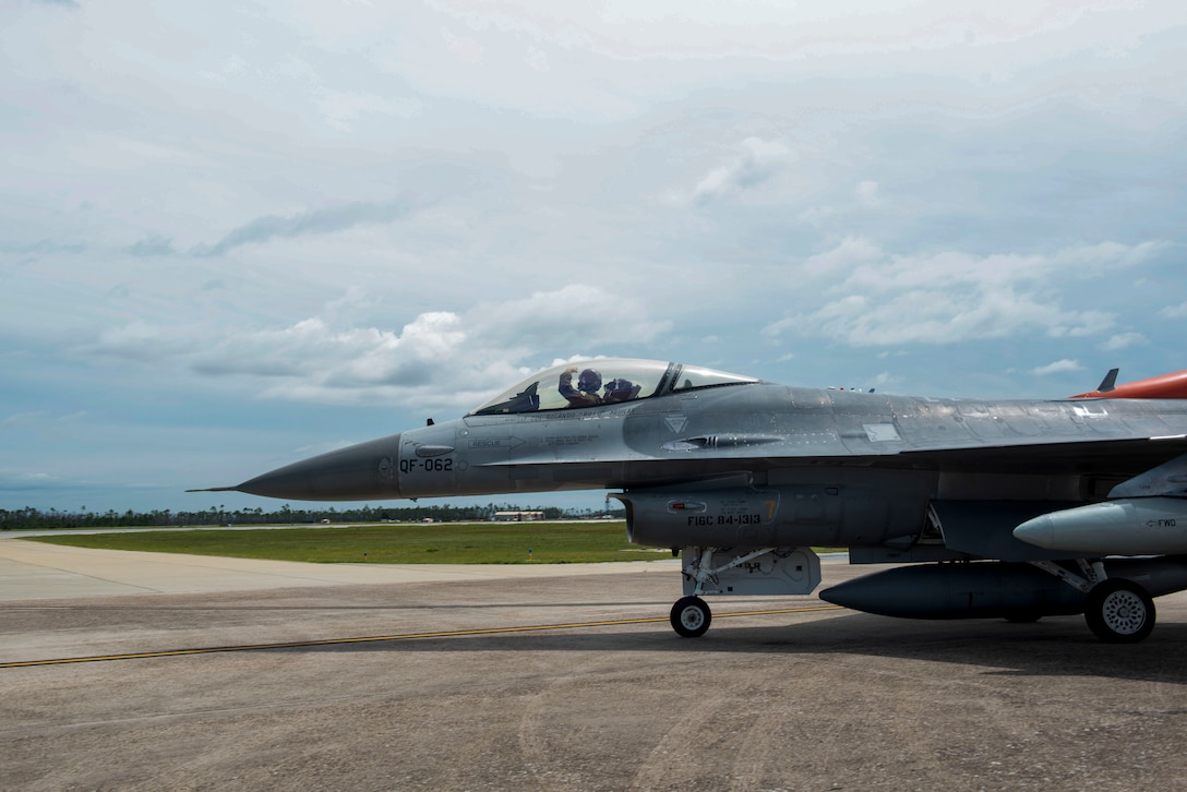 U.S. Air Force Lt. Col. Travis Winslow, 82nd Aerial Targets Squadron, commander, taxies a QF-16 aircraft for takeoff at Tyndall Air Force Base, Florida, Aug. 21, 2020. Wilson piloted the aircraft to Shaw Air Force Base, South Carolina, as part of an airfield evacuation in preparation for severe weather conditions approaching the Gulf of Mexico. (U.S. Air Force photo by Staff Sgt. Magen M. Reeves)