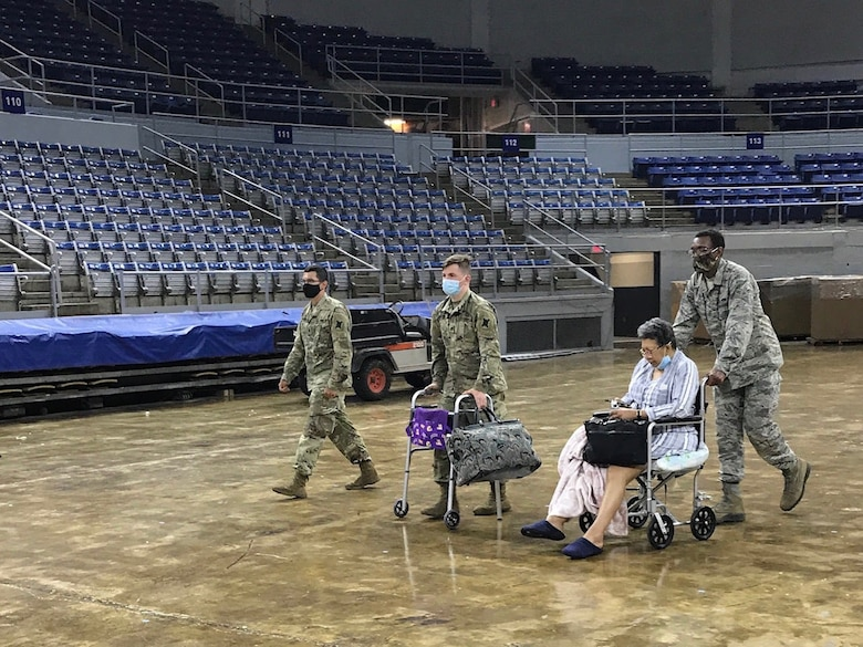 Louisiana National Guard Soldiers and Airmen assist citizens in Southwest Louisiana at the Burton Coliseum in Lake Charles before landfall of Hurricane Laura Aug. 26-27, 2020. More than 3,000 members of the Louisiana Guard were involved in response efforts.