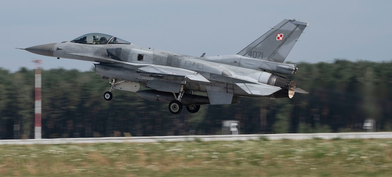 A Polish air force F-16, assigned to the 32nd Tactical Air Base, takes off at Łask Air Base, Poland, August 20, 2020. Aviation Detachment Rotation will be one of the largest exercises performed at the 32nd TAB, where there will be focus on missions such as Large Force Deployments, Defensive Counter Air and Suppression of Enemy Air Defenses. (U.S. Air Force photo by Senior Airman Melody W. Howley)