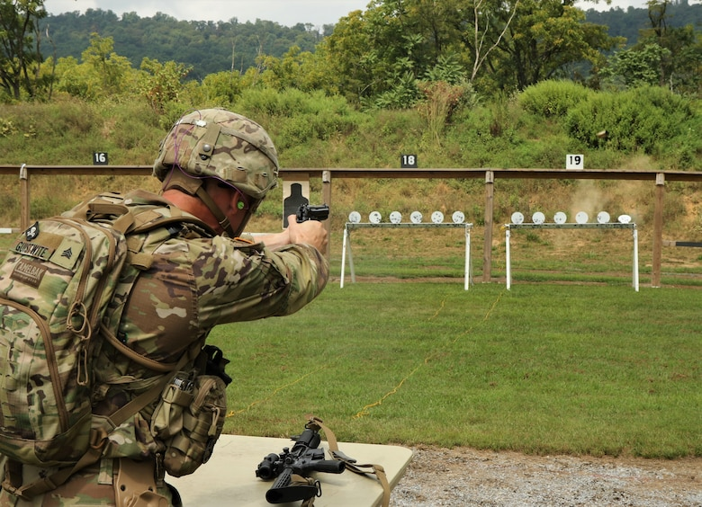 Sgt. Ethan Giustwite, a member of C Company, 2nd Battalion, 112th Infantry Regiment, 56th Stryker Brigade Combat Team, 28th Infantry Division, knocks back a target at the annual The Adjutant General Combined-Arms Match Aug. 23, 2020, at Fort Indiantown Gap, Pa. Approximately 50 Pennsylvania National Guard Soldiers and Airmen competed with rifles and pistols in multiple courses of fire to during the competition, which was held Aug. 21-23.  (U.S. Army National Guard photo by Staff Sgt. Zane Craig)