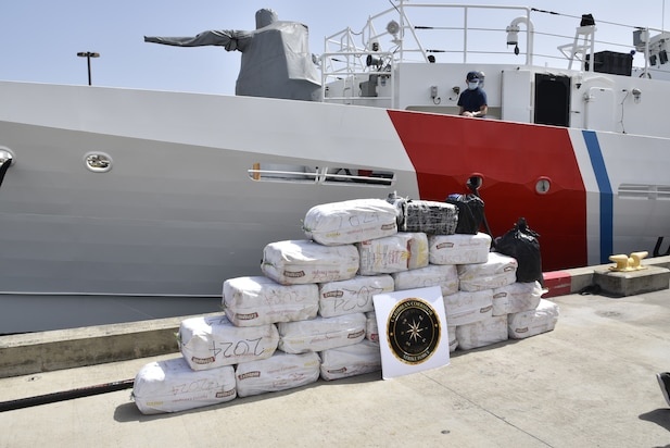 The crew of the Coast Guard Cutter Joseph Napier (WPC-1115) transferred custody of two smugglers and offloaded 430 kilograms of cocaine and at Sector San Juan Aug. 5, 2020, which have a wholesale value of more than $12 million.  The Coast Guard Cutter Richard Dixon (WPC-1113) apprehended two smugglers and seized 21 bales of cocaine after interdicting a go-fast vessel in the Caribbean Sea Aug. 2, 2020. The interdiction was the result of multi-agency efforts in support of U.S. Southern Command's enhanced counter-narcotics operations in the Western Hemisphere, the Organized Crime Drug Enforcement Task Force (OCDETF) program and the Caribbean Corridor Strike Force (CCSF).