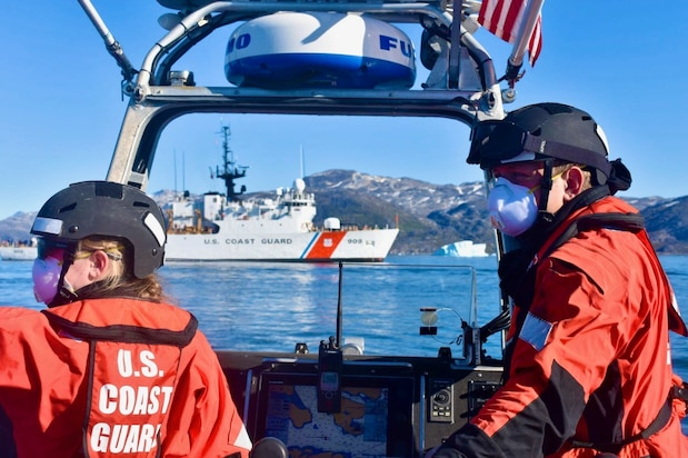 As part of Operation Nanook, the crew of the U.S. Coast Guard Cutter Campbell (WMEC 909) participate in Argus, a search and rescue exercise, offshore Greenland Aug. 17, 2020. The crew conducted many drills throughout the operation.