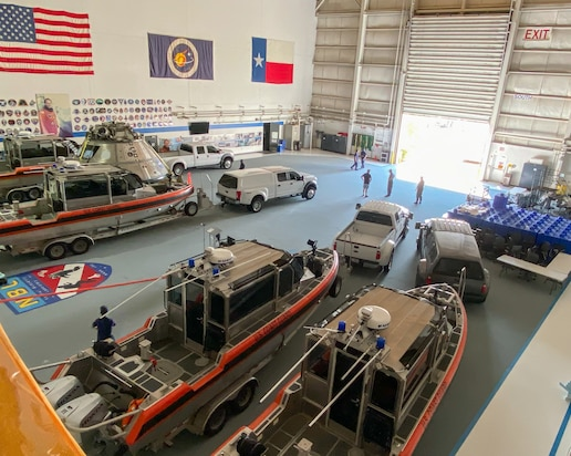 Coast Guard Marine Safety Security Team Houston response boats sit staged inside the NASA Neutral Buoyancy Lab in Houston, Texas, Aug. 23, 2020. The Coast Guard is pre-staging response assets in the Gulf Coast region due to a forecast of two tropical storms and potential hurricanes.
