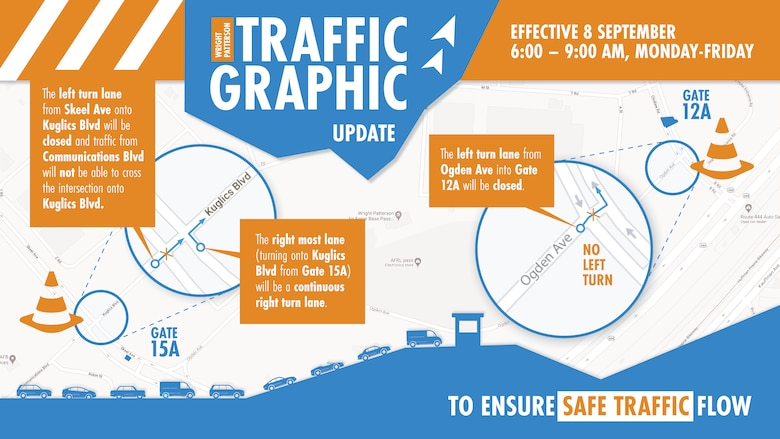 To increase the efficiency of traffic flow, traffic pattern changes have been made and will take effect Sept. 8. (U.S. Air Force Graphic/David Clingerman)