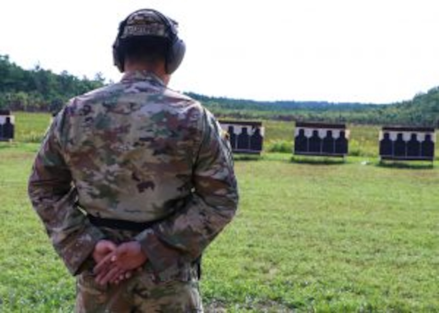 Virginia National Guard Soldiers assigned to the Virginia Beach-based 329th Regional Support Group compete with the M4 pistol during a competition Aug. 19, 2020, at Fort Pickett, Virginia.