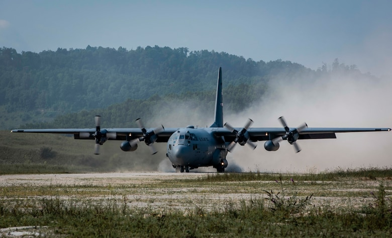 A U.S. Air Force Reserve aircrew from the 757th Airlift Squadron, Youngstown Air Reserve Station, Ohio, land a C-130H Hercules on a dirt landing zone during the distributed operations training event near Charleston, West Virginia, Aug. 25, 2020. The training event tested aircrew on their tactical combat airlift skills such as cargo airdrop, formation flights, and personnel delivery in a contested environment. There were a total of eight aircraft from various Reserve and Guard units supporting the training effort, enabling strategic depth and readiness for the force.