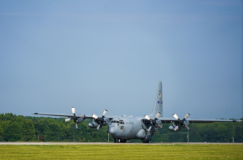 A C-130H Hercules assigned to the 908th Airlift Wing, Maxwell Air Force Base, Alabama, takes off from the flightline on Aug. 23, 2020, at Youngstown Air Reserve Station in Vienna, Ohio. Five Air Force Reserve units from the 22nd Air Force and a West Virginia Air National Guard unit participated in Rally in the Valley, a multi-day C-130 training exercise under a distributed operations concept, Aug. 22-25, 2020. The exercise included cargo drops, high-altitude paratrooper drops, task force resupply and personnel extraction.