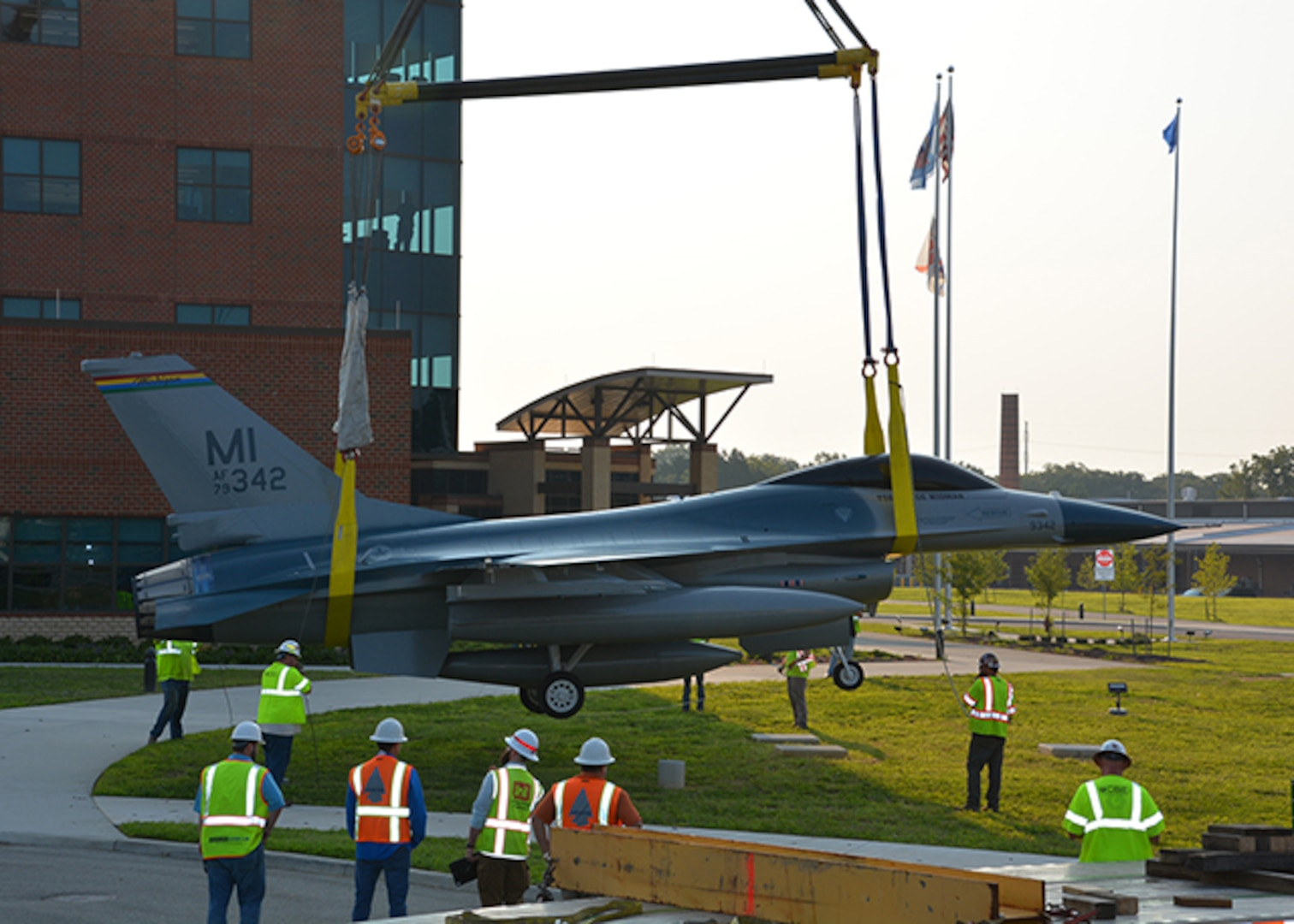 F-16 Fighting Falcon static display in front of the DLA Aviation Operations Center