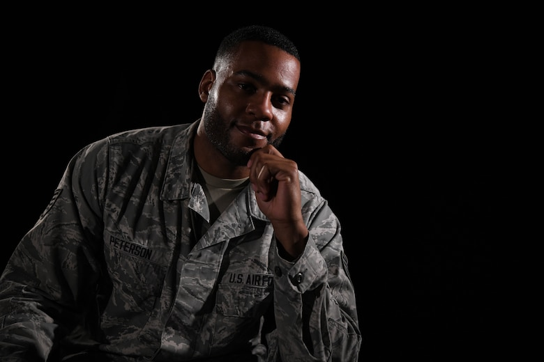 Staff Sgt. Jarrod Peterson, a 72nd Test and Evaluation Squadron software engineer, poses for a photo, July 8, 2020, at Whiteman Air Force Base, Missouri. Peterson, who is an Airman passionate to initiate change within his community, develops and maintains software for training modules in the Air Force. (U.S. Air Force photo by Staff Sgt. Sadie Colbert)