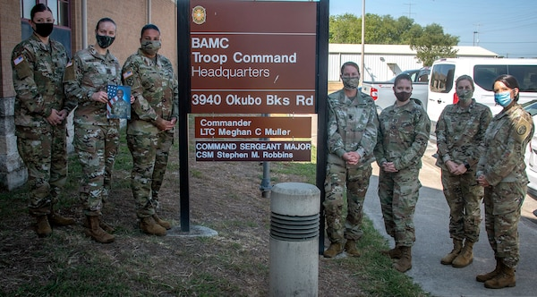 (From left) Brooke Army Medical Center Troop Command leaders; Capt. Arie Emde, Capt. Audrey Mosley, Capt. Veronica Waites-Moore, Lt. Col. Meghan Muller, Capt. Tamara Johnson-Caswell, 1st Sgt. Carrie Hurst and 1st Sgt. Melinda Griffin pose for a photo outside Troop Command Headquarters, Joint Base San Antonio-Fort Sam Houston, Aug. 27. For the first time, the battalion and all five companies are commanded by women.