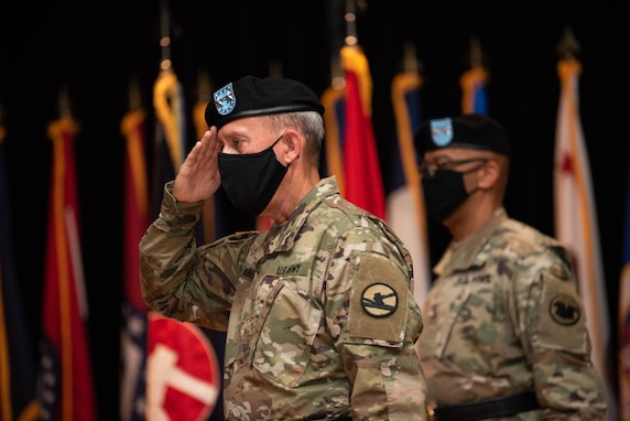 Maj. Gen. Steven W. Ainsworth, the outgoing commander of the 84th Training Command, is honored during his relinquishment-of-command and retirement ceremonies, Aug. 22, 2020, at Fort Knox, Ky.