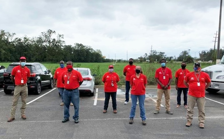 Members of our Emergency Power Planning and Response Team pose for a quick picture before getting to work. The Memphis District U.S. Army Corps of Engineers deployed an Emergency Power Planning and Response Team (PRT) to support FEMA's Hurricane Laura relief efforts, Aug 26.