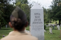 U.S. Marines visit Opha May Johnson's burial site as part of a professional development event at Rock Creek Cemetery, Washington, D.C. on Aug. 13.